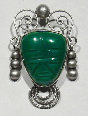 LARGE Vintage 40s 925 Silver Carved Green Glass Face Brooch Pendant W/ Earrings