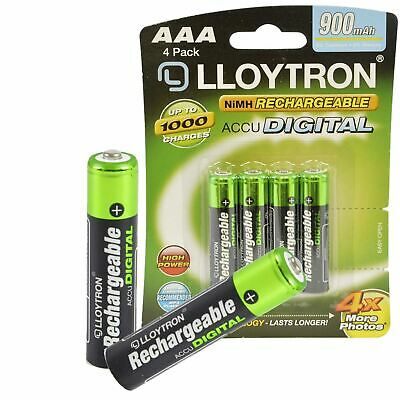 Lloytron AAA Rechargeable Batteries NiMH 900mAh Cordless Phone Remote HR03
