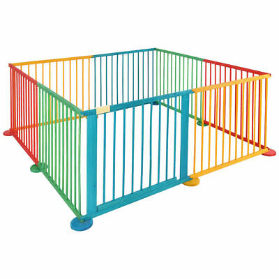 Foldable Wooden Baby Playpen 8 Panel Play Yard Fence Kids Child Indoor/Outdoor