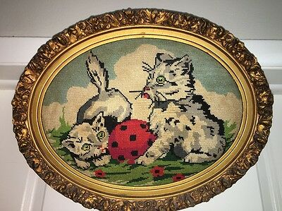 "Vintage Completed and Framed Needle Point Cross Stitch Kittens with Ball 19""x15"""