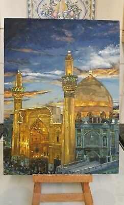 """Orignal oil painting of the Imam Ali Mosque. Size 12"""" × 16. Unframed."""