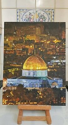 """Orignal unframed oil painting of the Dome of the Rock Jerusalem. Size 12"""" x 16."""