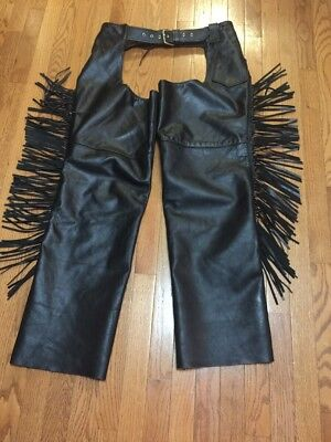 Universal Rider Black Leather Motorcycle Riding Cowboy Chaps Large Fringes USA