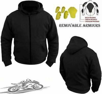 Motorcycle Motorbike Hoodie Hoody Jacket Zip Up Removable CE Armoured