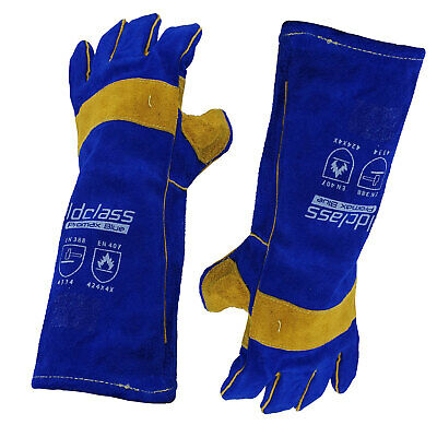 Promax Blue Left Hand Welding Gloves - 1 Pair - 40cm Long - Weldclass - MIG ARC