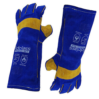 Promax Blue Left Hand Welding Gloves - 6 Pairs - 40cm Long - Weldclass - MIG ARC
