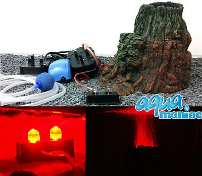 LED Volcano with illuminated RED bubbles, Air pump For Aquarium Fish Tank Set