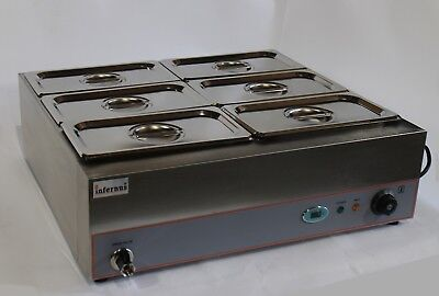Wet Well Bain Marie 6X GN 1/3 Pans, Lids & Tap NEW