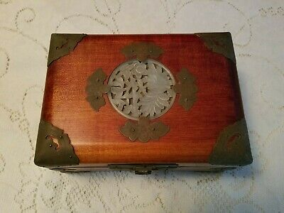 Vintage Chinese Rosewood and Jade Jewelry Box with Brass Accents