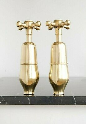 Vintage Brass Taps Fully Refurbished Antique Hardware Wall Mounted LARGE size