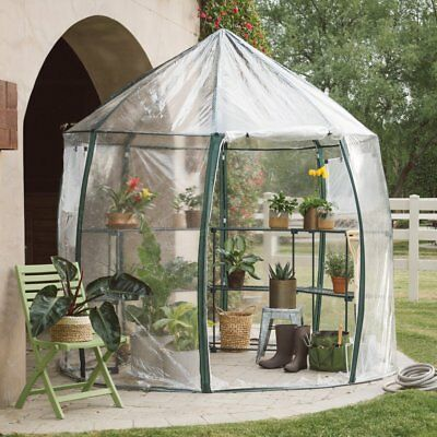 Round Metal Greenhouse with Shelves PVC Transparent Canopy Outdoor Home Garden