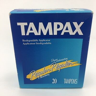 Tampax Tampons Regular 20 Count Box Vintage 1998