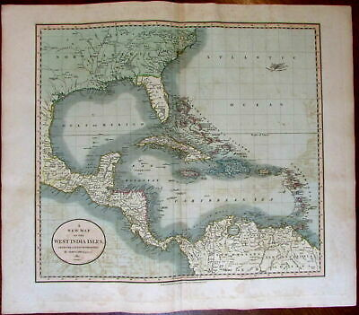 West Indies Caribbean North America Florida 1811 John Cary lovely large old map