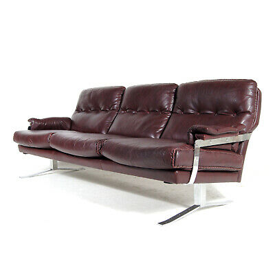 Retro Vintage Arne Norell Chrome & Leather 3 Seat Seater Sofa 50s 60s 70s Danish