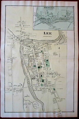 Lee Berkshire Mass. 1876 detailed uncommon old map