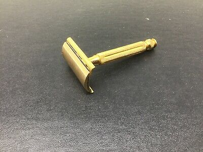 Vintage Gillette Gold Tone Tech Safety Razor Ball End - Marked Pat. OFF -50's?