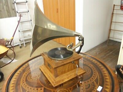 RARE ANTIQUE VICTOR VIC III TALKING MACHINE Nickel Horn Working condition
