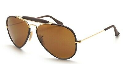 e2682c6738af8 Ray Ban Outdoorsman Craft Aviator Sunglasses Gold Brown Leather Rb3422Q  9041 58