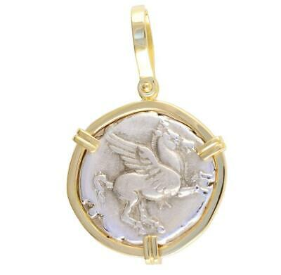 Beautiful 18kt Gold Pendant Authentic Ancient Greece Pegasus Coin 400-330 B.C.