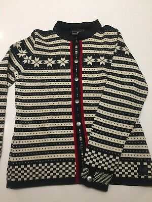 a1ab7e05469 Dale of Norway Casual Women s Cardigan Sweater Nordic Fair Isle Medium  Pewter
