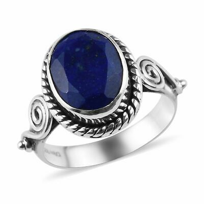 Girls Artisan Crafted Lapis Lazuli Sterling Silver Statement Ring Gift