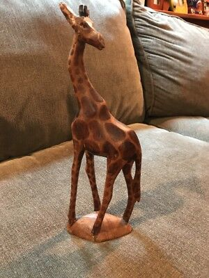 Giraffe Standing Wild Animal Wilderness Safari Statue Hand Carved All Wood