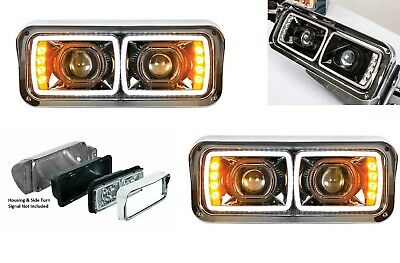 "Pair High Power LED ""Blackout"" Headlights w/ LED Turn Signals, 4"" x 6"" Headlamps"