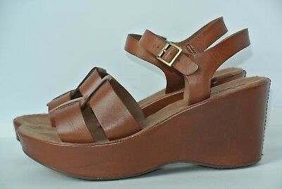 95898a843a9 Korks by Kork Ease Sz 8 M Brown Leather Platform Wedge Sandals Shoes NICE!