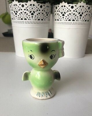 Vintage Porcelain figurine Ceramic Cute Chic Hen Green Egg Cup Japan Used