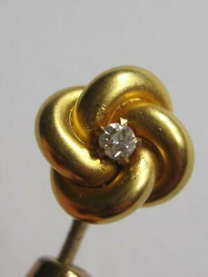 Victorian Vintage 14k Gold Knot Diamond Stick Pin 1909