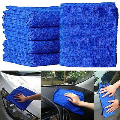 10Pack Absorbent Microfiber Towel Car Home Kitchen Washing Clean Wash Cloth Blue