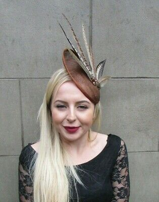Brown Pheasant Feather Disc Saucer Hat Fascinator Hair Races Ascot Sinamay 6994
