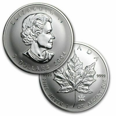 2004 1 oz Canada Silver Maple Royal Mint Privy Reverse Proof Coin (BU)