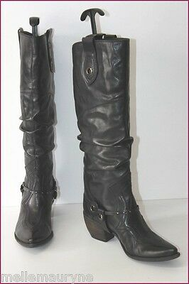 SAN MARINA Boots Knees Sharp/ pointed Black Leather T 37 TOP CONDITION