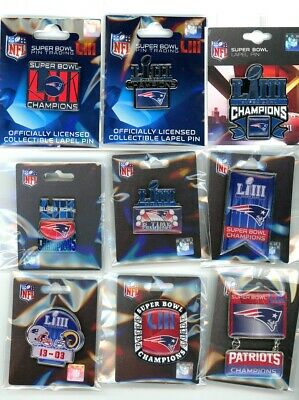 Patriots Super Bowl LIII Champions Pin Choice 9 Pins 53 2019 New England Champs