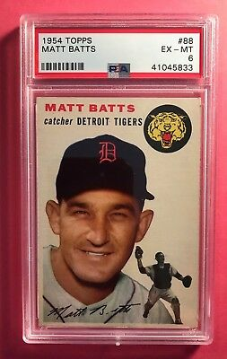1954 Topps #88 Matt Batts Tigers PSA 6 EX-MT centered vibrant color