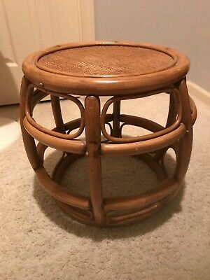 Vtg Mid Century Bentwood Rattan Occasional Side Table Plant Stand Barrel Style