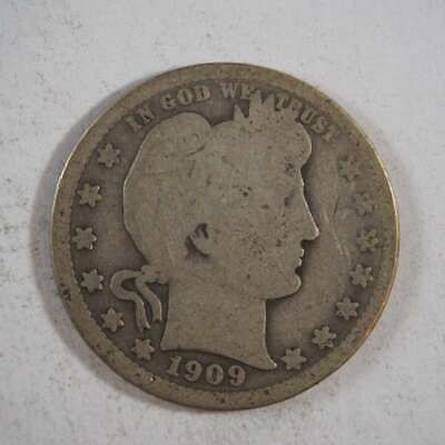 1909 P Barber Quarter 90% Silver US Coin About Good (AG) - SKU 94USQ