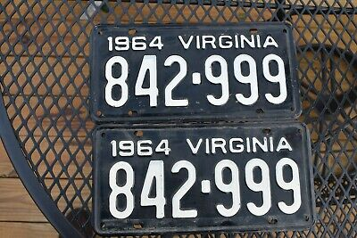 1964 Virginia License Plates Tags Matching Pair 842-999 Antique Vintage