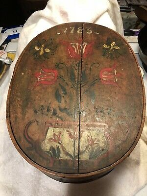 AAFA Large Primitive Antique Painted Pantry Brides Box