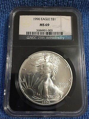 Beautiful 1990 American Silver Eagle MS69 NGC 25th Anniversary Black Holder