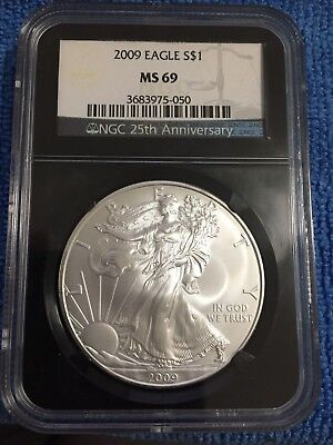 Beautiful 2009 American Silver Eagle MS69 NGC 25th Anniversary Black Holder