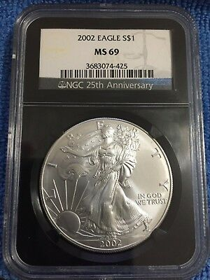 Beautiful 2002 American Silver Eagle MS69 NGC 25th Anniversary Black Holder