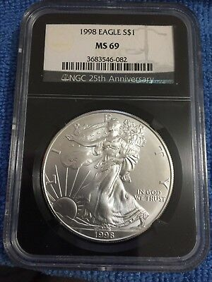Beautiful 1998 American Silver Eagle MS69 NGC 25th Anniversary Black Holder