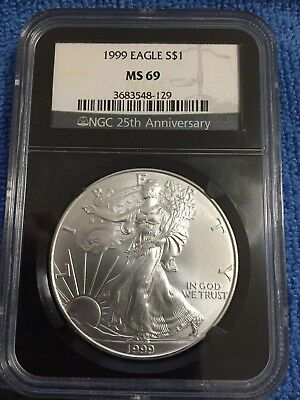 Beautiful 1999 American Silver Eagle MS69 NGC 25th Anniversary Black Holder
