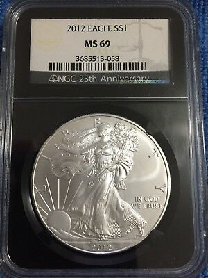 Beautiful 2012 American Silver Eagle MS69 NGC 25th Anniversary Black Holder