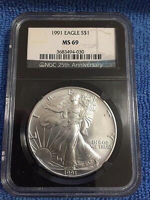 Beautiful 1991 American Silver Eagle MS69 NGC 25th Anniversary Black Holder