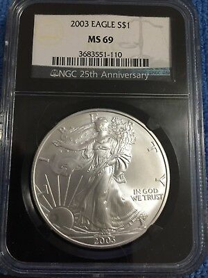 Beautiful 2003 American Silver Eagle MS69 NGC 25th Anniversary Black Holder
