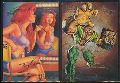 2 x 1995 Spider-Man Premiere Gold Signature Cards #37 Mary Jane, #46 Sandstorm