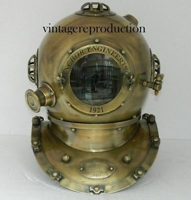 "1921 "" Vintage Antique 18 Inch Diving Divers Helmet Deep sea Anchor Engineering"